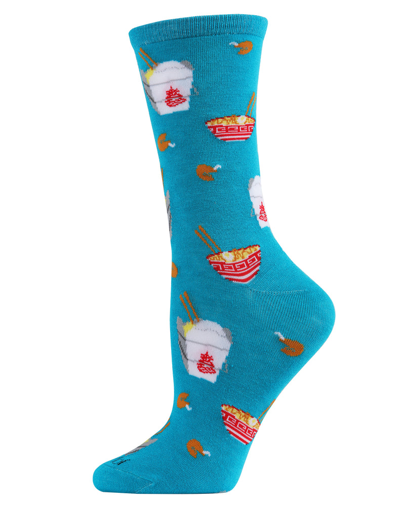 Chinese Takeout Bamboo Crew Novelty Socks | Fun Novelty Socks by MeMoi® | Deep Lagoon MCV05966 -2