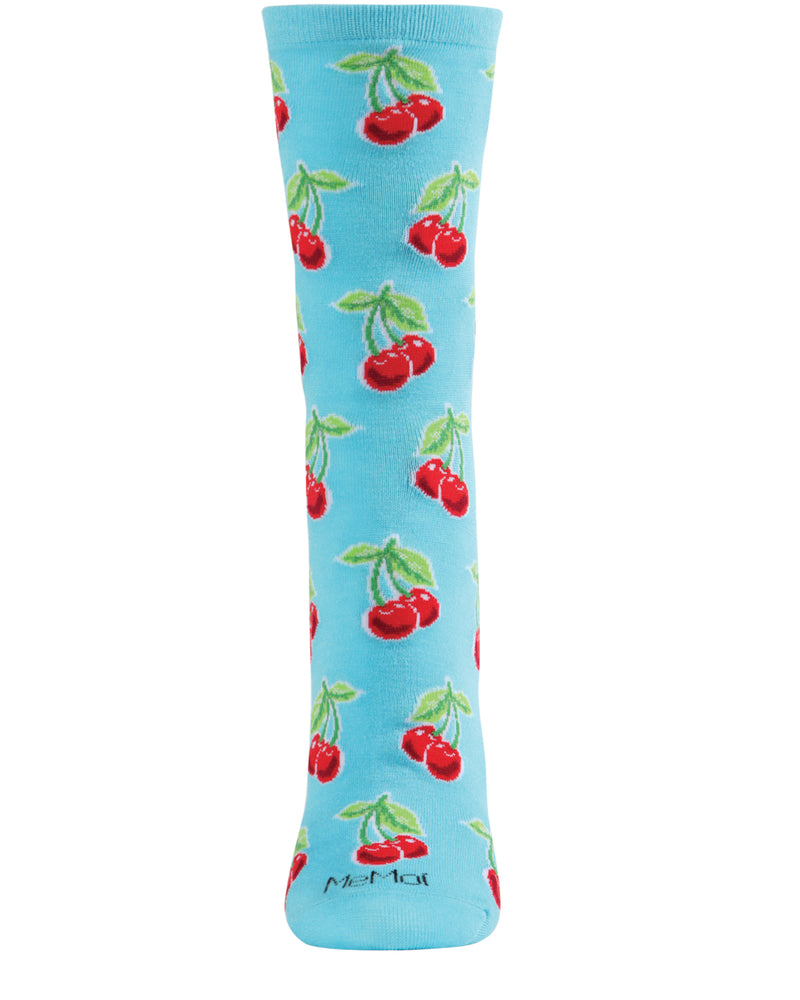 Cherries Bamboo Blend Crew Socks | Novelty Crew Socks by MeMoi® | Women's Socks | Turqoise MCV05968 -2