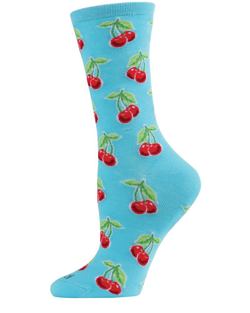 Cherries Bamboo Blend Crew Socks | Novelty Crew Socks by MeMoi® | Women's Socks | Turqoise MCV05968