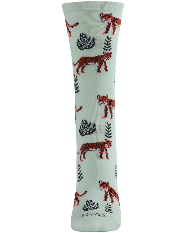 Tigers Bamboo Crew Socks | Fun Novelty Socks by MeMoi® | Jungle Animal Socks | MCV05981 Mint -2