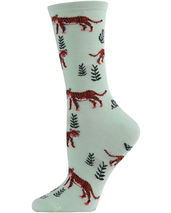 Tigers Bamboo Crew Socks | Fun Novelty Socks by MeMoi® | Jungle Animal Socks | MCV05981 Mint