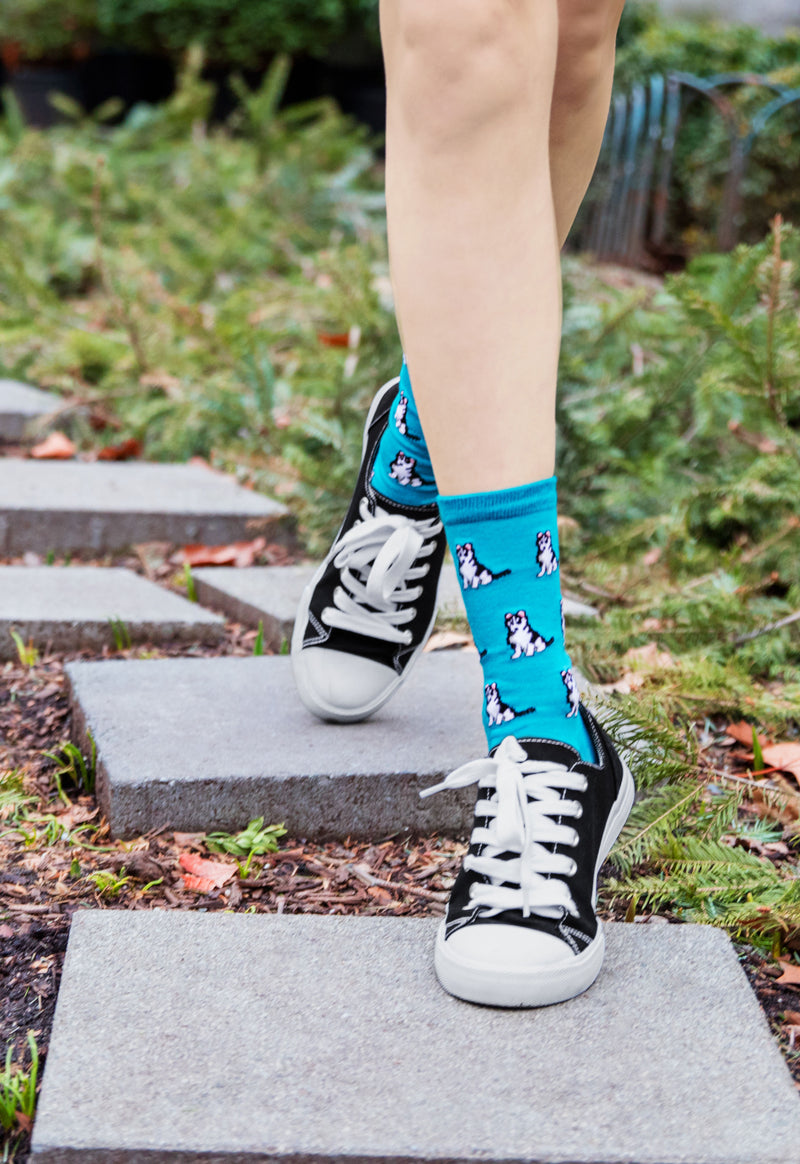 Huskies Dog Bamboo Crew Socks | Fun Novelty Socks by MeMoi® | Woodland Bird Socks | Deep Lagoon MCV06018 - Lifestyle