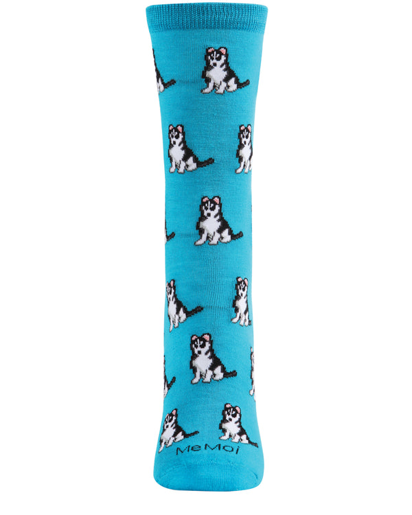 Huskies Dog Bamboo Crew Socks | Fun Novelty Socks by MeMoi® | Woodland Bird Socks | Deep Lagoon MCV06018 -2
