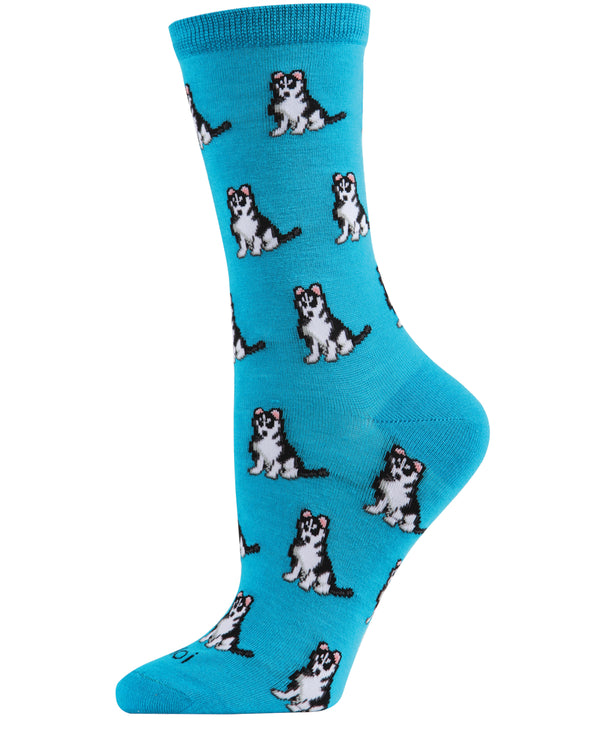 Huskies Dog Bamboo Crew Socks | Fun Novelty Socks by MeMoi® | Woodland Bird Socks | Deep Lagoon MCV06018