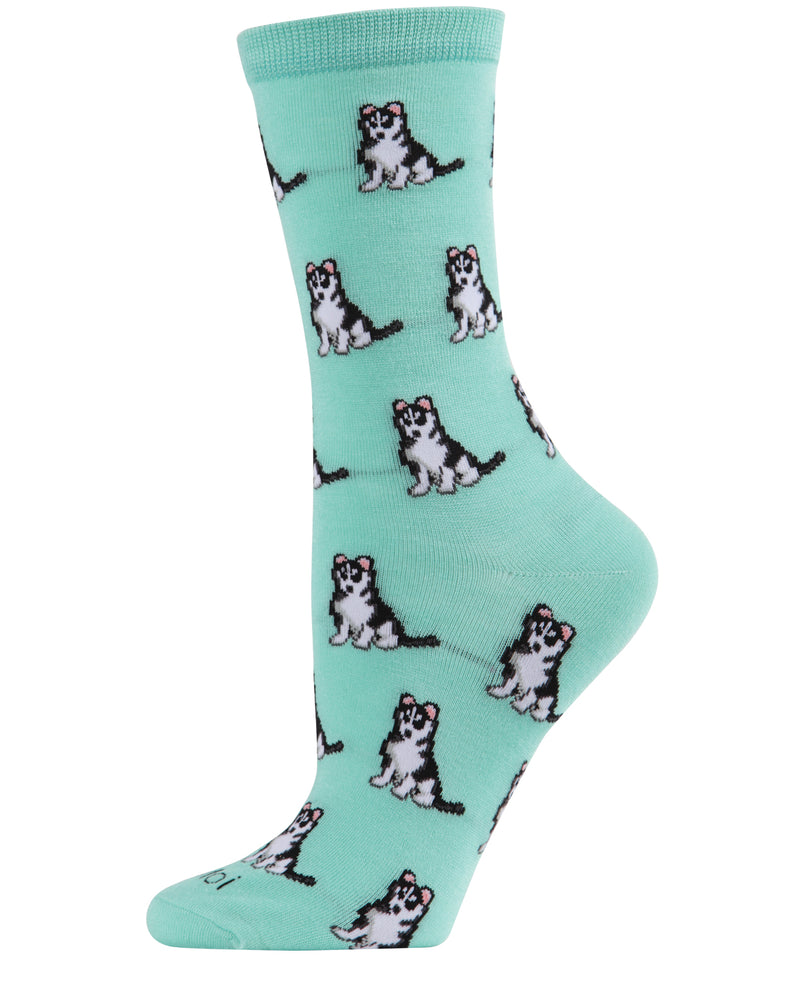Huskies Dog Bamboo Crew Socks | Fun Novelty Socks by MeMoi® | Woodland Bird Socks | Seafoam MCV06018
