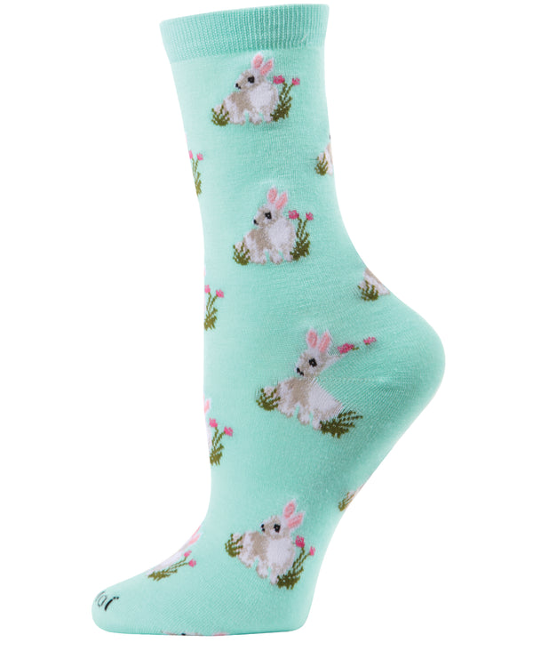 Rabbits Bamboo Blend Crew Socks | Novelty Crew Socks by MeMoi® | Women's Socks | Seafoam MCV06019