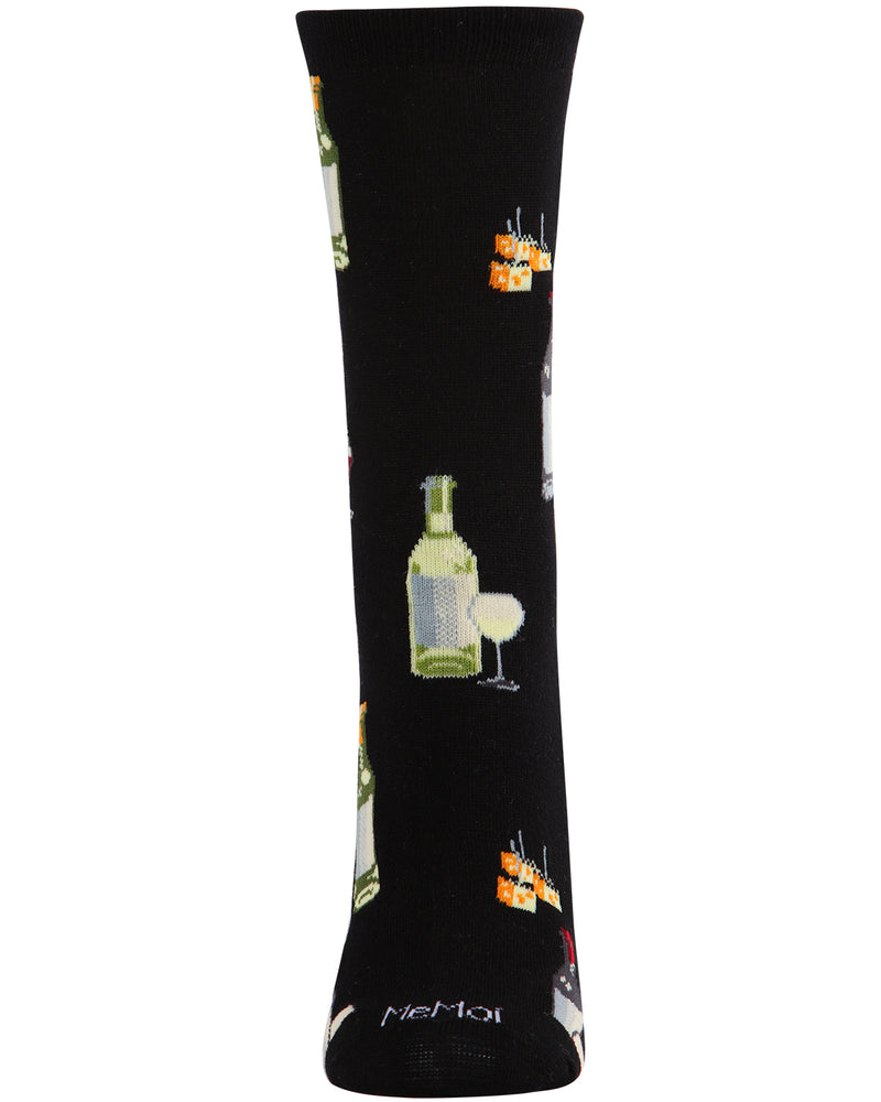 Wine and Cheese Bamboo Blend Crew Socks | Fun Novelty Socks by MeMoi® | Black MCV06084 -2