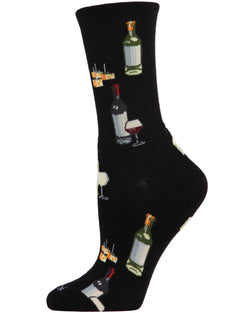 Wine and Cheese Bamboo Blend Crew Socks | Fun Novelty Socks by MeMoi® | Black MCV06084