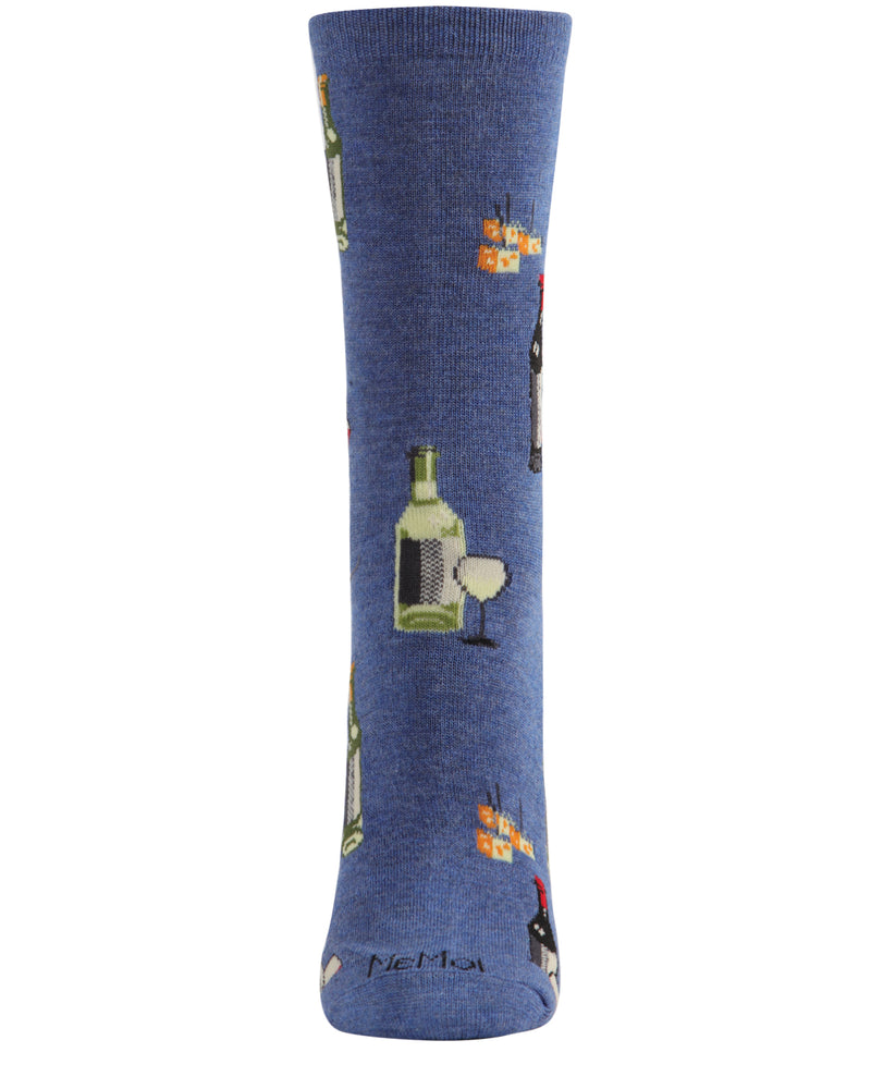 Wine and Cheese Bamboo Blend Crew Socks | Fun Novelty Socks by MeMoi® | Denim Heather MCV06084 -2