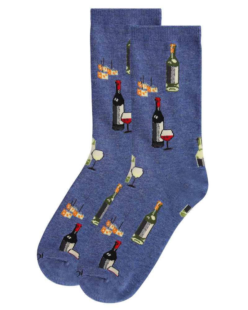 Wine and Cheese Bamboo Blend Crew Socks | Fun Novelty Socks by MeMoi® | Denim Heather MCV06084 -3