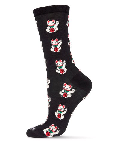 Maneki-Neko Bamboo Women's Novelty Crew Socks | Women's Novelty Socks by MeMoi® | Black MCV06474  | 招き猫