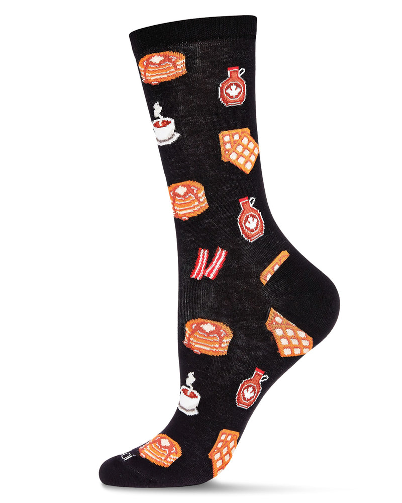 Breakfast of Champions Bamboo Women's Novelty Crew Socks | Women's Novelty Socks by MeMoi® | Black MCV06475