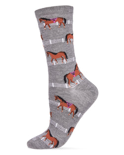 Show Pony Bamboo Women's Novelty Crew Socks | Women's Novelty Socks by MeMoi® | Medium Gray Heather MCV06479