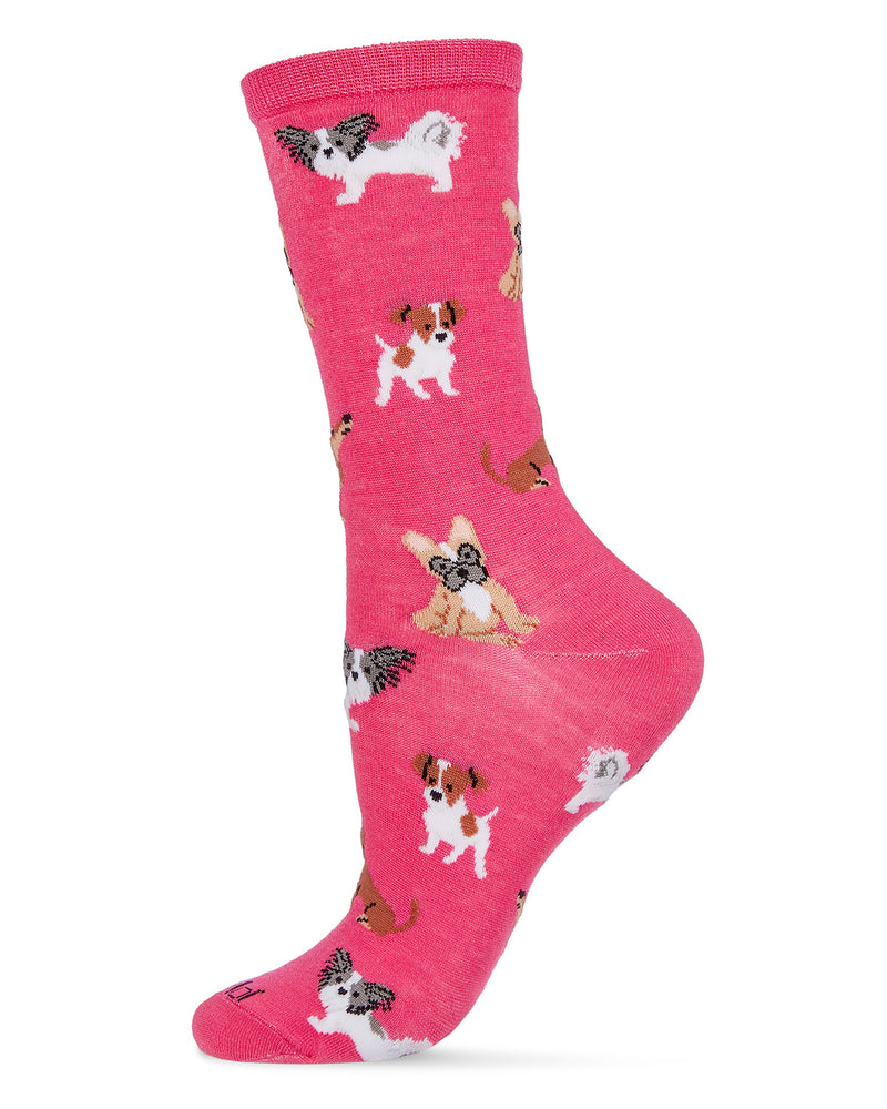 They Call it Pupper Love Bamboo Women's Novelty Crew Socks | Women's Novelty Socks by MeMoi® | Pink MCV06480