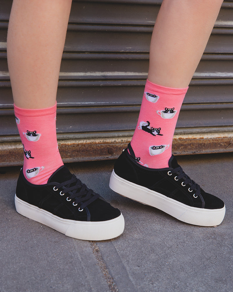 Cup o' Cats  Bamboo Women's Novelty Crew Socks | Women's Novelty Socks by MeMoi® | Lifestyle MCV06481