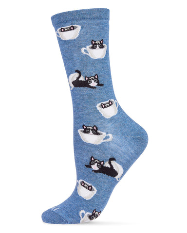 Cup o' Cats  Bamboo Women's Novelty Crew Socks | Women's Novelty Socks by MeMoi® | Pink MCV06481
