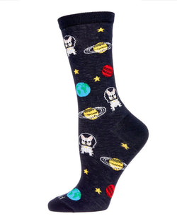 In Space No One Can Hear You Bark Bamboo Blend Crew Socks