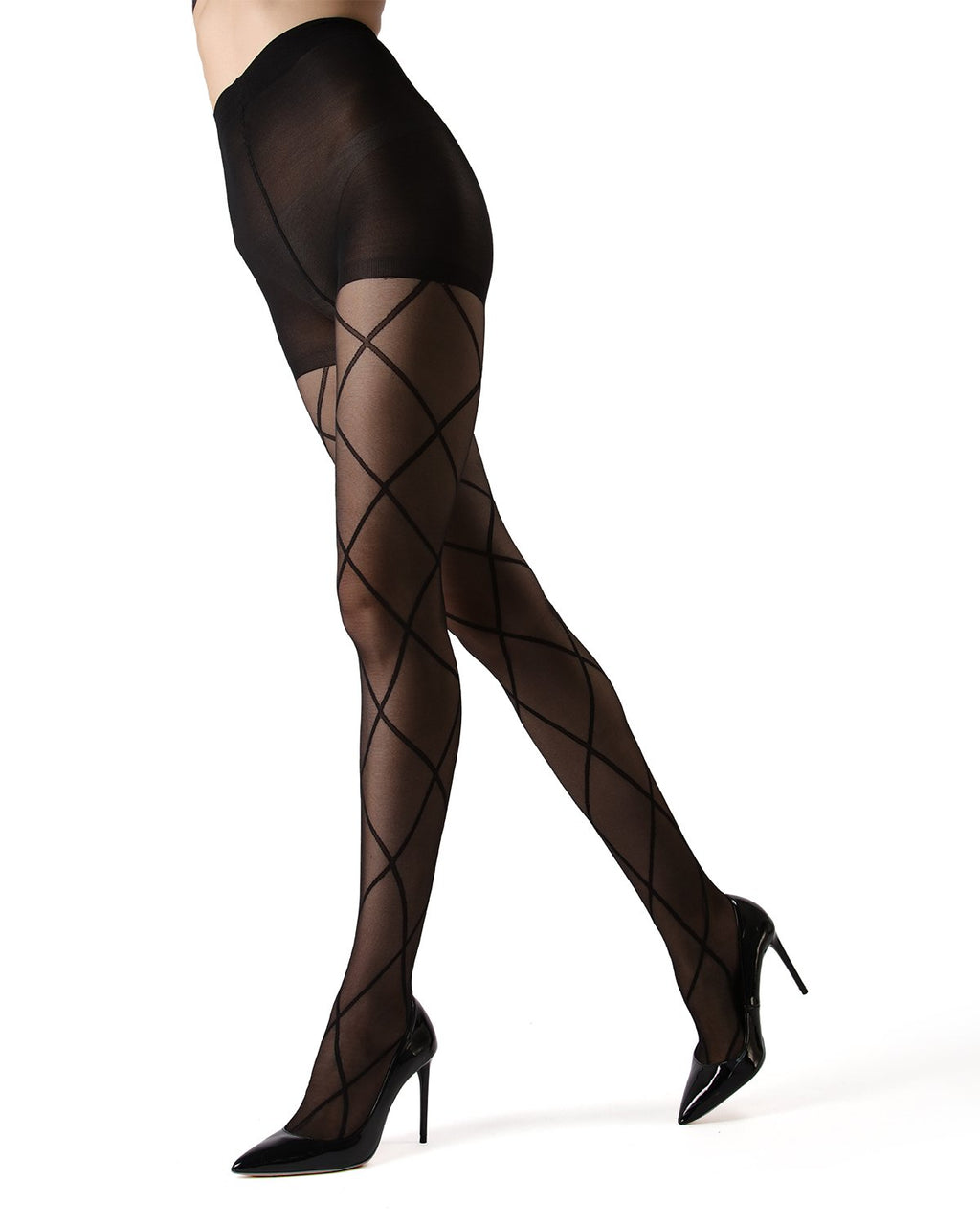 MeMoi | Black/Black Antwerp Sheer Diamond Tights | Women's Tights