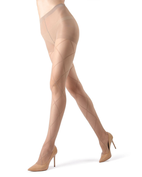 MeMoi | Nude/Nude Antwerp Sheer Diamond Tights | Women's Tights