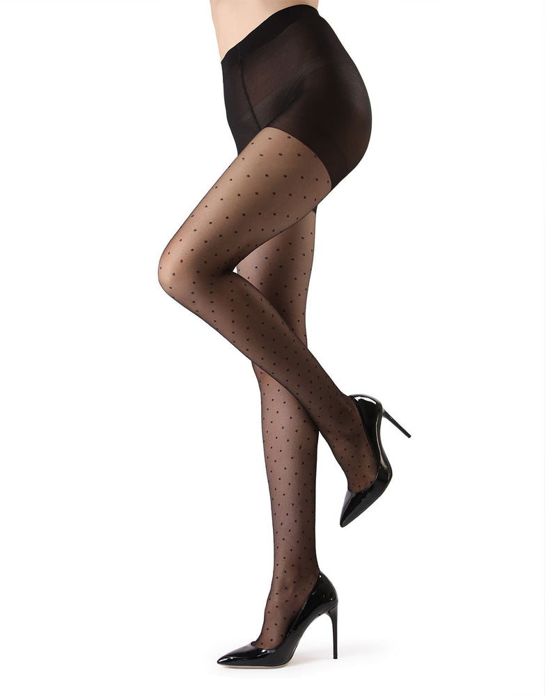 MeMoi Black Petite Point Fashion Tights | Women's Tights - Hosiery - Pantyhose