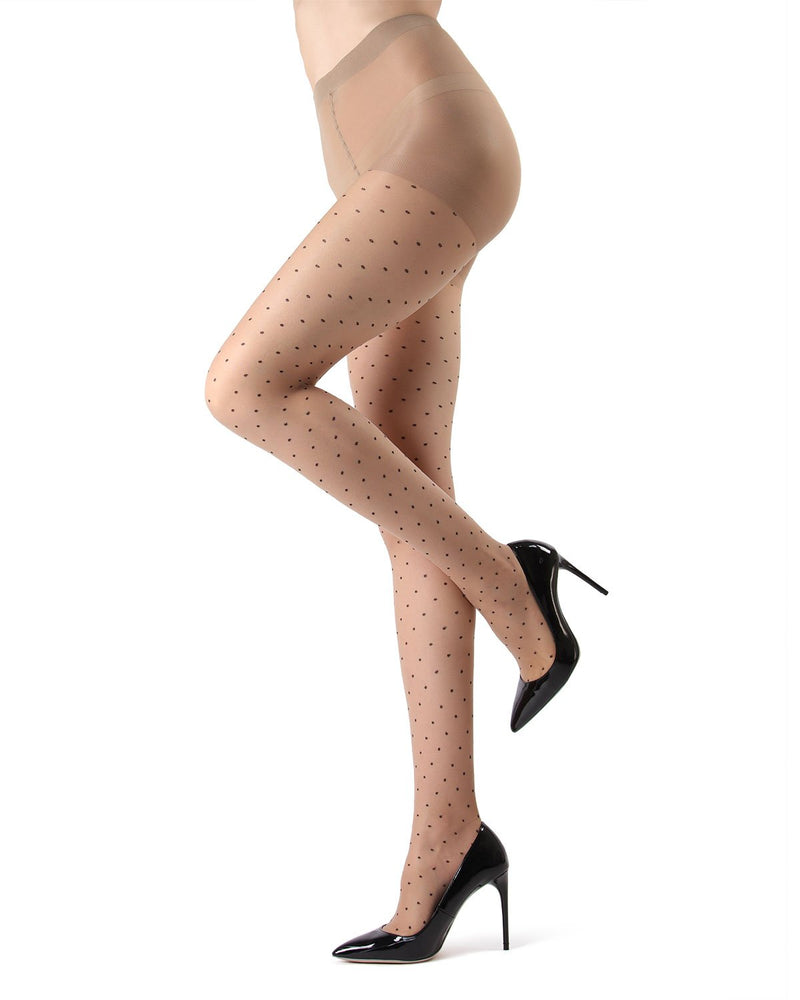 MeMoi Nude/Black Petite Point Fashion Tights | Women's Tights - Hosiery - Pantyhose
