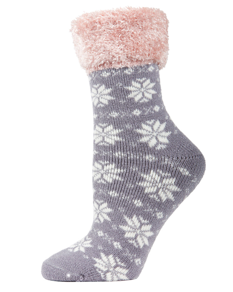 Snowflake Fairisle Plush Cabin Socks | Socks By MeMoi®  | MCP05485 | Alloy