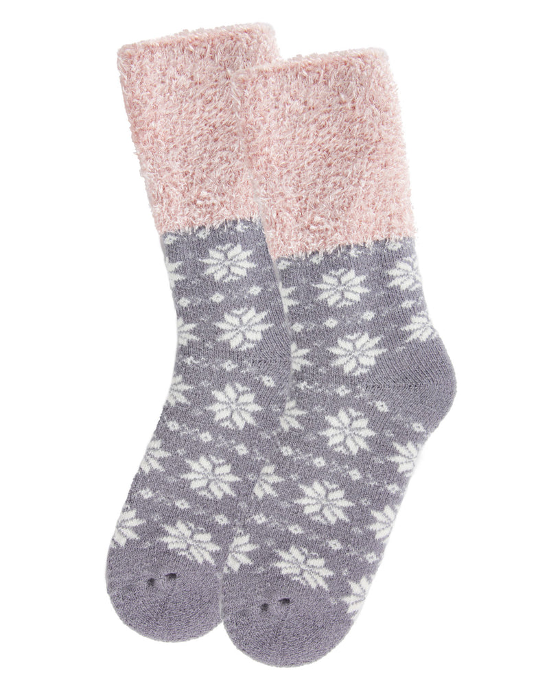 Snowflake Fairisle Plush Cabin Socks | Socks By MeMoi®  | MCP05485 | Alloy 2