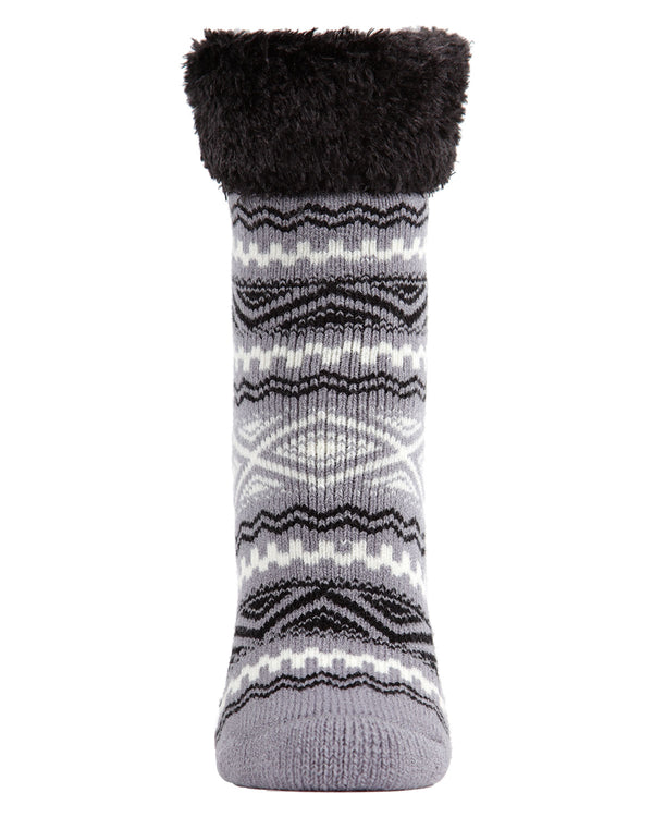 Aztec Fairisle Plush Cabin Socks | Cabin Socks | by Memoi | MCP05487 | Grey Black White | Front |