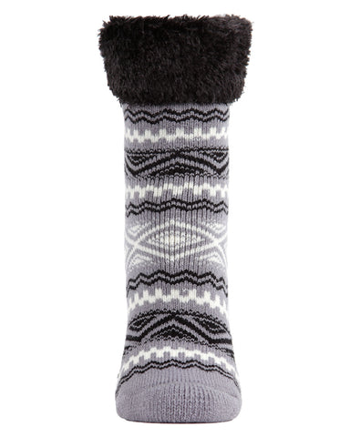 Aztec Fairisle Plush Cabin Socks | Cabin Socks | by Memoi | MCP05487 | Grey Black White | Side |