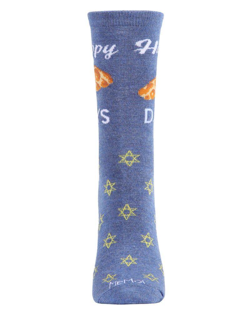 Happy Challah Days Holiday Crew Socks | womens novelty socks by MeMoi |womens clothing | MCV05792-40802-9-11 blue -2