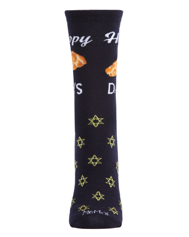 Happy Challah Days Holiday Crew Socks | womens novelty socks by MeMoi |womens clothing | MCV05792-40121-9-11 navy -2