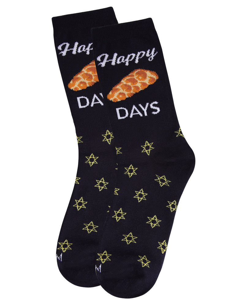 Happy Challah Days Holiday Crew Socks | womens novelty socks by MeMoi |womens clothing | MCV05792-40121-9-11 navy -3