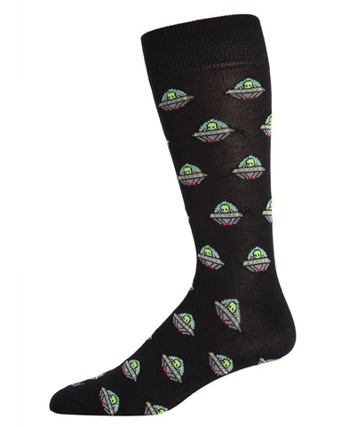 Alien Invasion Bamboo Blend Men's Crew Socks | Fun Mens Novelty socks by MeMoi | ACV05885-00001-10 13 black