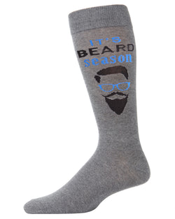 It's Beard Season Bamboo Blend Men's Crew Socks | Fun Mens Novelty socks by MeMoi | ACV05887-03003-10 13 Meadium gray heather