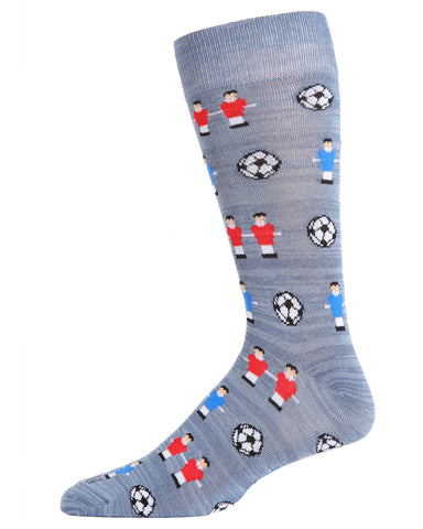 Foosball Bamboo Blend Men's Crew Socks | Fun Mens Novelty socks by MeMoi | ACV05891-03003-10 13 Medium Gray Heather