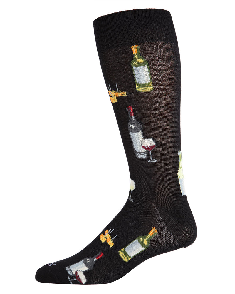 Wine & Cheese Bamboo Blend Crew Socks | Fun Mens Novelty socks by MeMoi | ACV05895-00211 Black