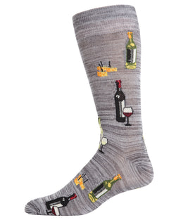 Wine & Cheese Bamboo Blend Crew Socks | Fun Mens Novelty socks by MeMoi | ACV05895-00211 Asphalt
