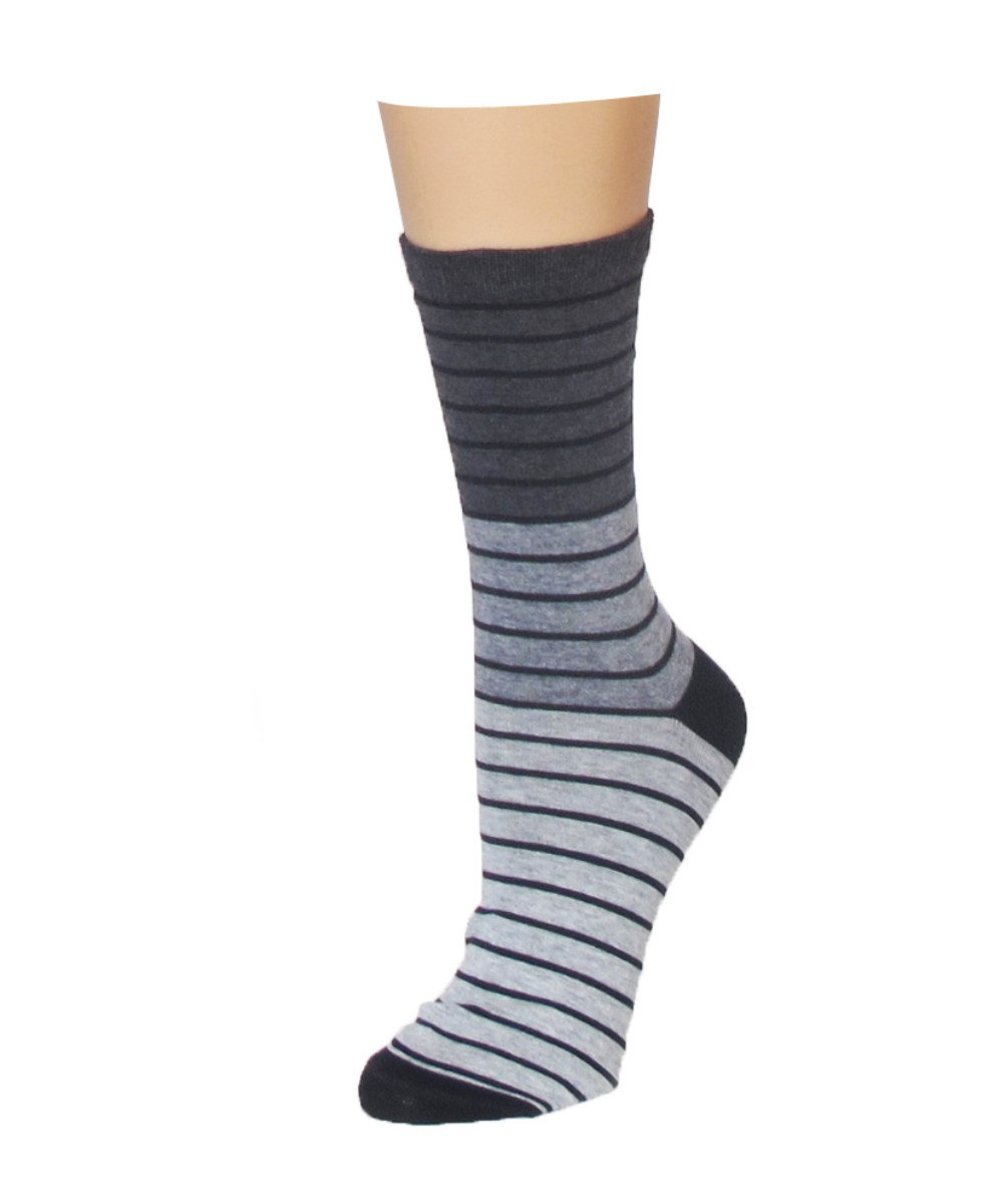 Shaded Stripes Crew Socks - MeMoi - 2