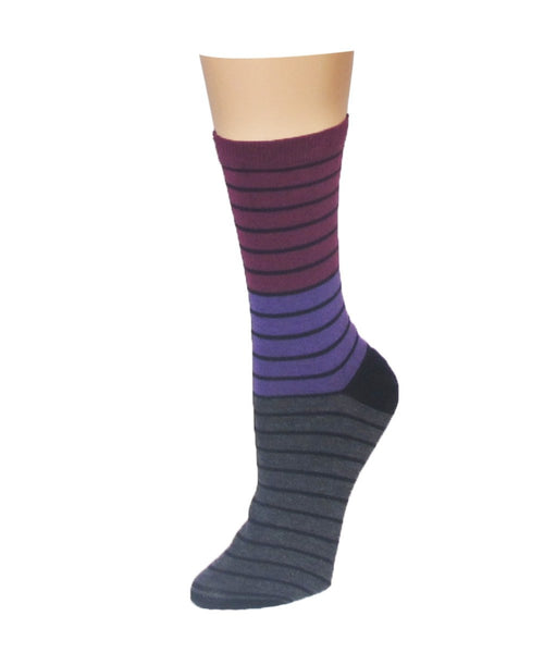 Shaded Stripes Crew Socks - MeMoi - 1