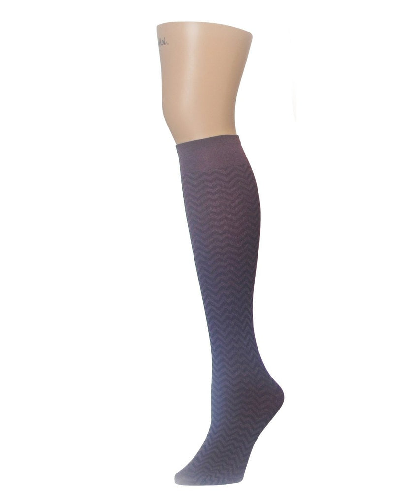 Horizontal Zag Opaque Knee High - MeMoi - 1