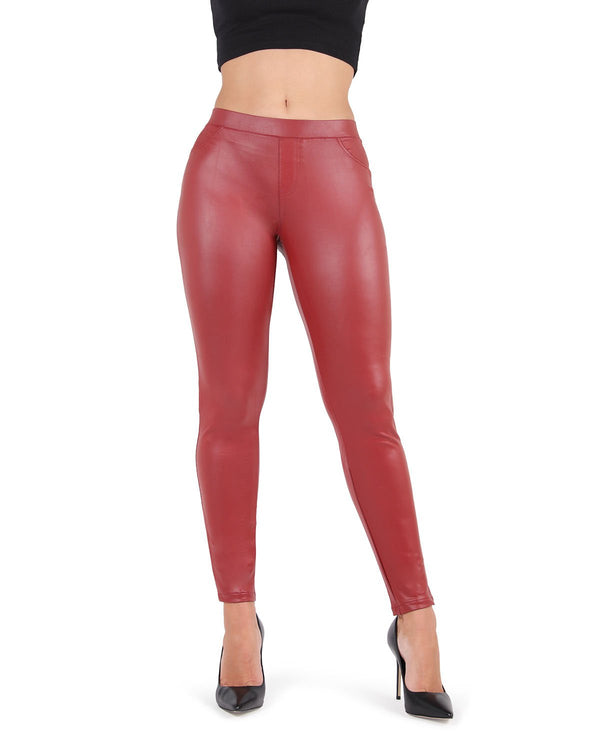Feather Red Faux Leather Legging | MeMoi Women's Vegan / Faux Leather Leggings (Front View) | Pants - Trousers