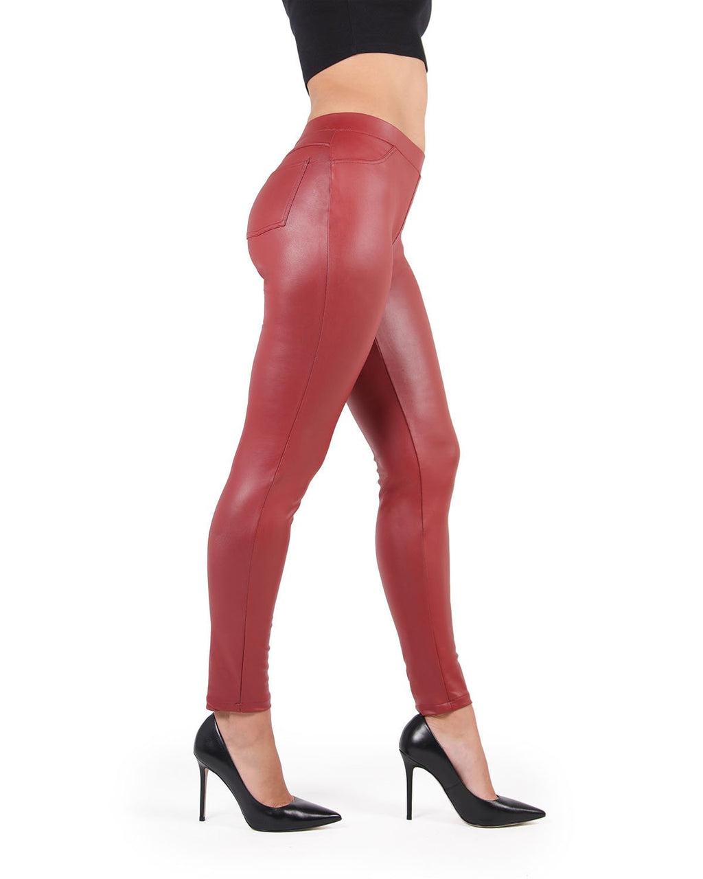 Feather Red Faux Leather Legging | MeMoi Women's Vegan / Faux Leather Leggings (Side View) | Pants - Trousers