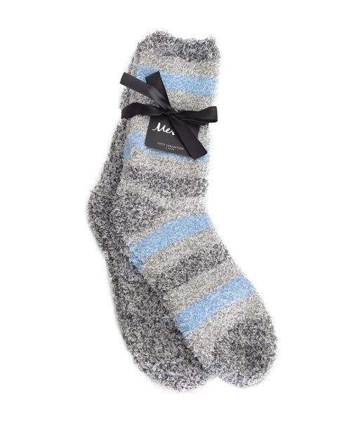 Striped/Solid 2pr Cozy Sock - MeMoi - 1