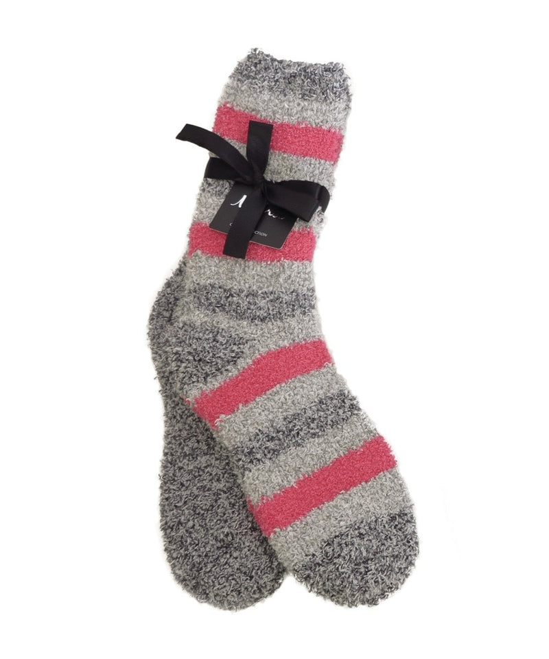 Striped/Solid 2pr Cozy Sock - MeMoi - 2