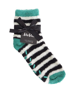 Colorblock Fuzzy Socks with Aloe | Fun Women's Plush Socks by MeMoi | Emerald MF3-909
