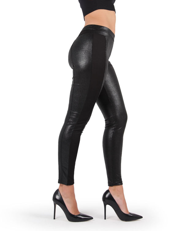 Faux / Vegan Leather Leggings | MeMoi Women's Vegan / Faux Leather Leggings (side view) | Pants - Trousers