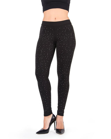 MeMoi Black Jeweled Glam Stretch Leggings (Side view) | Women's Premium Fashion Leggings- Black MJF02579