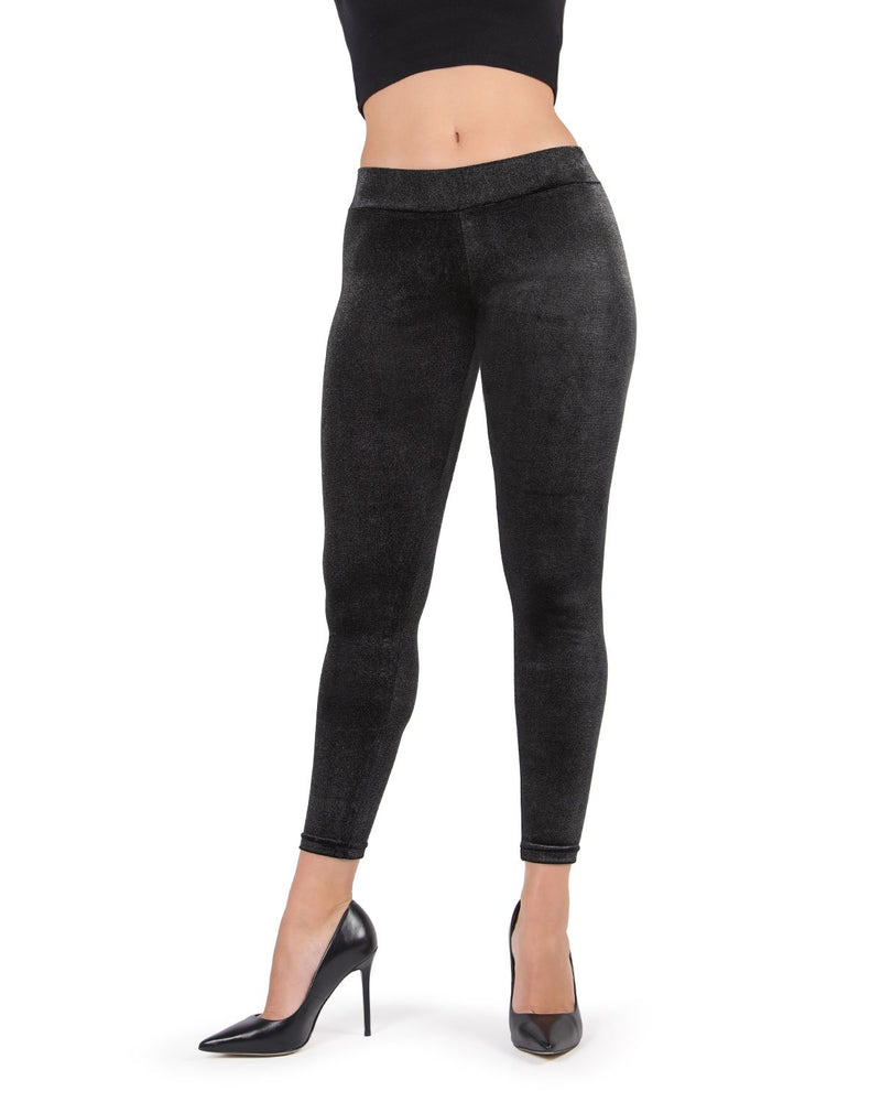 MeMoi Glam Rock Stretch Leggings | Women's Premium Fashion Leggings- Black MJF02583