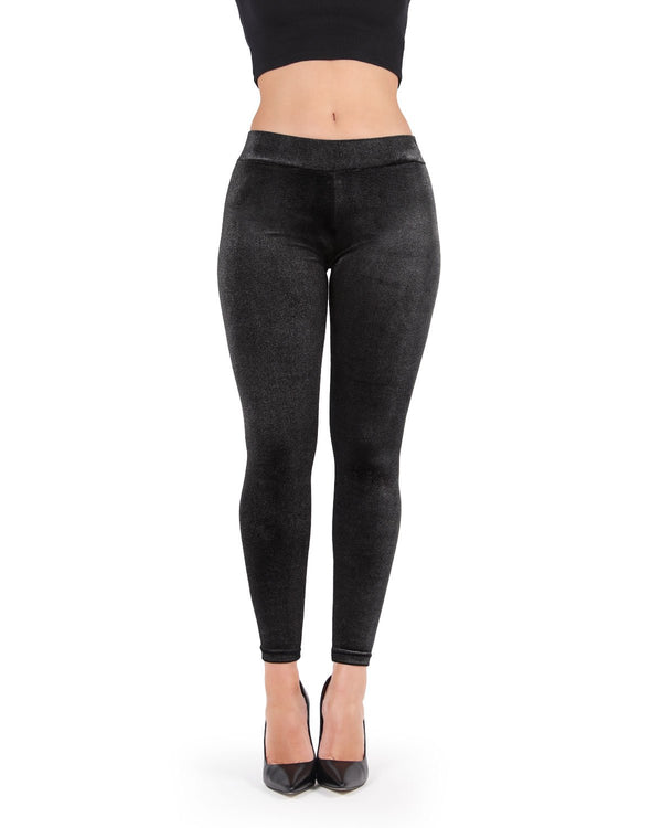 MeMoi Glam Rock Stretch Leggings (front view) | Women's Premium Fashion Leggings- Black MJF02583