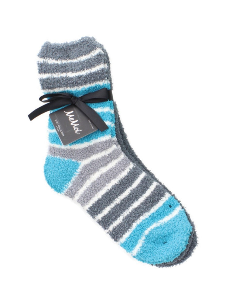 MeMoi Colorblock/Solid Fuzzy Crew Sock 2 Pack